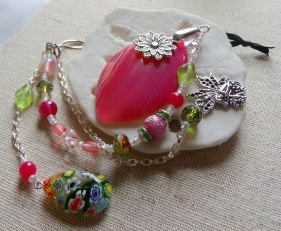 Pink fairy sun catcher - agate pendant - sun room ornament - girl wall decor - flower window - garden lover gift - tear drop - Lizporiginals