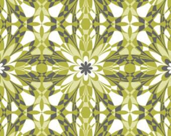 "LAMINATED Cotton  - Green Starlet, 56"" Wide, BPA & PVC Free"
