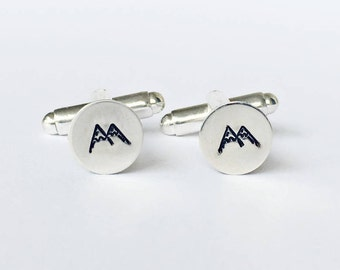 silver mountain cuff links, silver cufflinks, gift for dad, gift for boyfriend, lion accessory, suit accessory, mens jewelry
