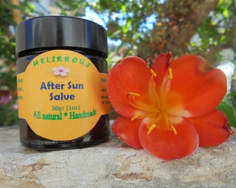After Sun Beeswax Salve, Sunburn Relief, All Natural Handmade Salve with Organic Oils and Essential Oils