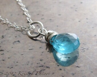 Apatite necklace sterling silver - paraiba aqua ocean blue faceted natural gemstone pendant simply wire wrapped minimalist gift