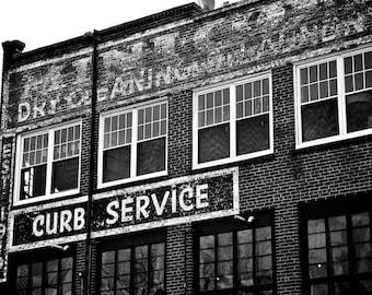 Urban Black and White Photo Brick Building Asheville Photography