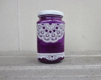 Ultra Violet Purple and Gothic White Lace Unique Stash Jar One of a Kind Handpainted Upcycled Glass Nug Jug by thriftalina