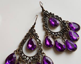 Long Sexy Deep Purple Dangle Earrings, Purple Earrings, Deep Purple Dangle Earrings