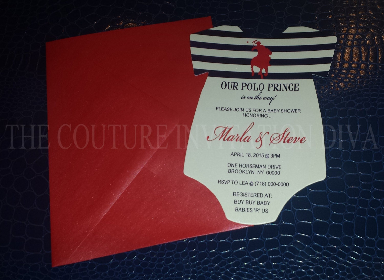 Polo Prince Baby Shower Invitation Polo Prince Onesie Baby
