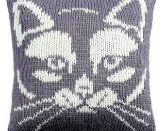Kitty Cushion knitting pattern, knitted cushion cover pattern, pdf download, cat face cushion cover, knitting patterns, cat pattern