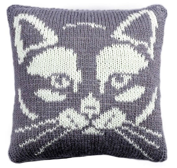 Kitty Cushion Knitting Pattern Knitted Cushion Cover Pattern