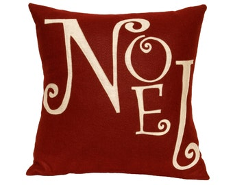 Noel - Christmas Pillow Cover in Ruby Red and Antique White - 18 inches