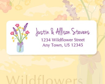 Flower Address Labels, Wildflower Labels, Return Address Labels, Address Stickers, Wild Flowers, Personalized, Wedding Labels, bouquet, jar