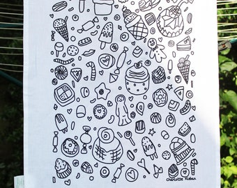 Hand drawn screen printed tea towel, confectionary, kitchenware, sweets, cake, biscuits, sweet treats