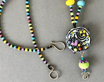 Colorful Lampwork Beaded Necklace
