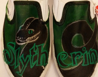 Slytherin Vans (Men's size 6.5)
