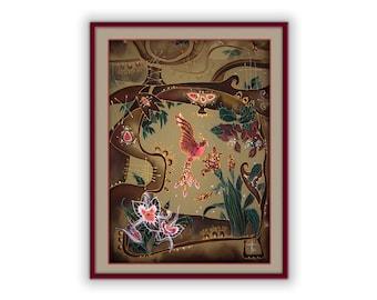 Fairy art, beautiful red firebird, print on canvas, symbol of love, joy, happiness, vitality, blessing, luck, inspiration, soul, Spirit