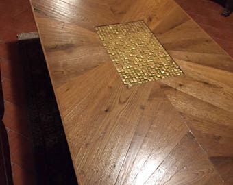 Wooden crafted Table in oak and birch plywood entirely handmade, fine craftsmanship, new. Wooden table with oak and birch,