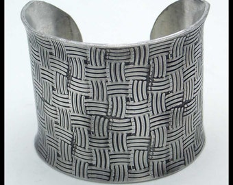 BASKETWEAVE - Handforged Embossed Oxidized Wide Pewter Cuff Bracelet