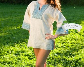 Russian woman shirt, White linen blouse, Slavic blouse, Folk shirt, Linen shirt, Sexy russian shirt, Linen tunic, Vyshyvanka
