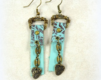 Turquoise and Brown Leather Earrings - Bohemian Leather Earrings - Western Leather Dangle Earrings - Turquoise Earrings