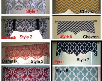 window curtains, kitchen window valance, window custom valance, bathroom valance, 16 inches long up to 50 inches wide.