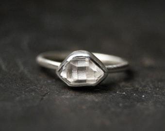 Sideways Clear Herkimer Diamond Ring in Sterling Silver