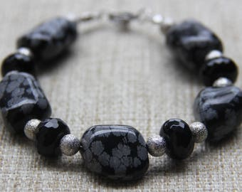 Snowflake Obsidian Onyx stardust bracelet