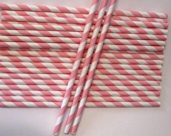 25 Paper Light Pink & White Striped Straws - Free Printable Straw Flags