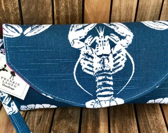 Nautical Clutch, Navy Bridesmaid Clutch, Navy Lobster Clutch, Nautical Bag, Embroidered Clutch, Navy Clutch, Bridesmaids Gifts, Wedding Clut