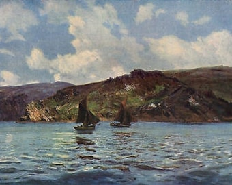 "Henry Moore 1885 Oil Painting ""Catspaws Off The Land"" Vintage Classic Artwork 1930 Seascape Book Print"