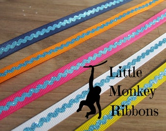 Glitter ric rac print ribbon, 3/8 grosgrain ribbon. 9mm Grosgrain Ribbon