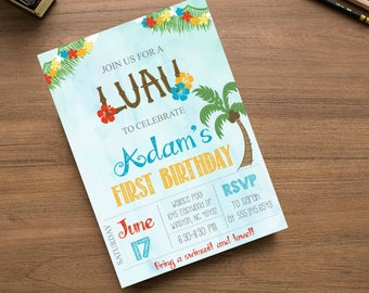 Luau Hawaii Tropical Beach Party Invite Birthday Summer Pool Party Invitation Palm Tree Ocean  printable or printed #2026
