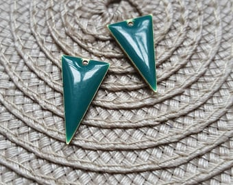 The 2 charms sequins blue enamelled green triangle with raw brass base