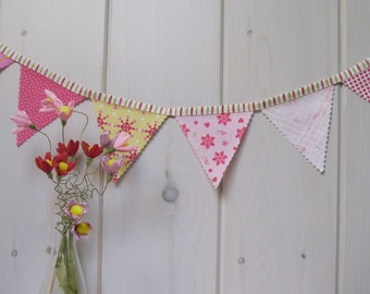 Valentine's Day Decor, Valentine's Day Bunting, Flag Banner (6 flags) Pink, Yellow