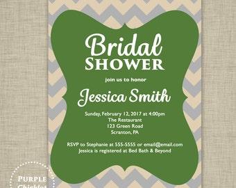 Green Beige Gray Bridal Shower Invitation Chevron Invite Adult Party Invitation Digital Party Invite JPEG file 2