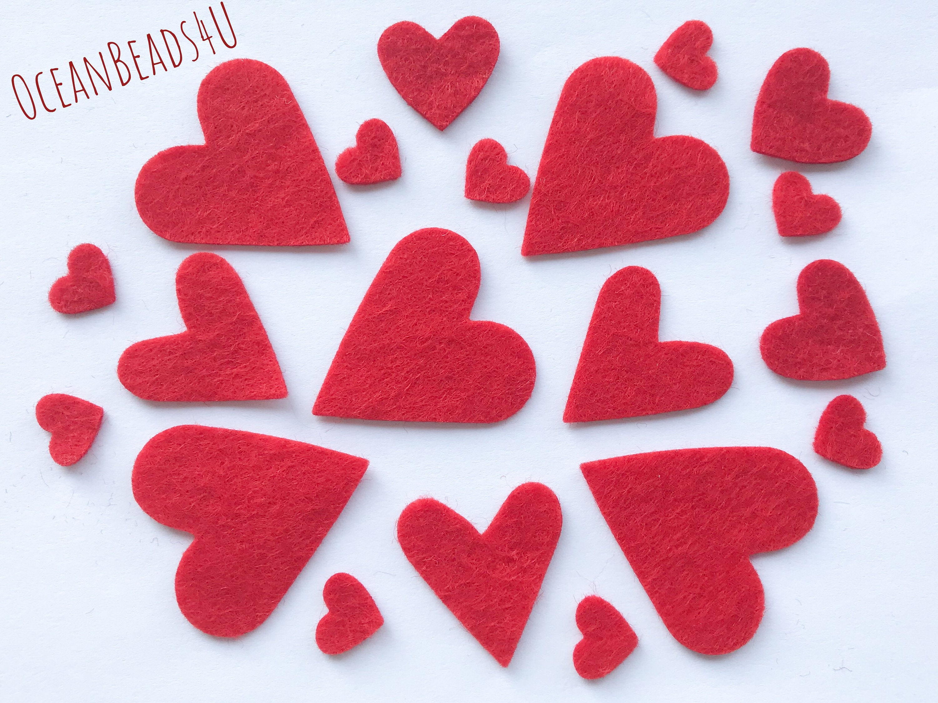 red felt hearts, confetti, party supply, felt die cut, st. valentin