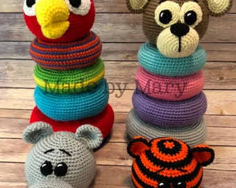 PDF PATTERN: Ring Stacker Zoo Animals 2 **Crochet Pattern Only, Not Actual Doll!** Crochet Toy