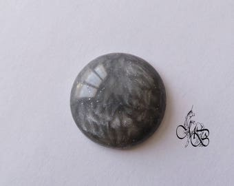 """Cabochon 30 mm polymer clay """"iridescent gray"""" #1"""