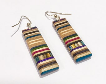 Recycled Skateboard Stack Earrings upcycled by Duque Skate Art
