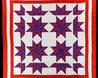 Fun & Playful Broken Star FINISHED QUILT - Wonderful colors and design.