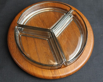 Danish Digsmed Mid Century Wedged Smokey Glass Serving Set in Round Teak Tray