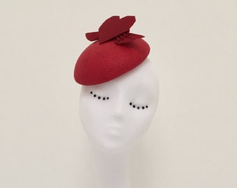 Venus : Red button hat with silk origami winged heart. Fascinator, statement, wedding, races