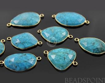 Natural Turquoise Bezel Fancy Shape Connector Component, Gold Vermeil   31x19mm, 1 Piece, (BZC7111)