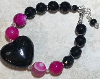 Pink Agate Black Ceramic Heart Handmade Beaded Bracelet Graduation Gift for Her