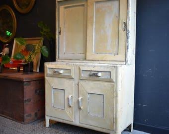 Vintage Aluminium Kitchen Cabinet Mid Century Painted Metal Industrial Cupboard