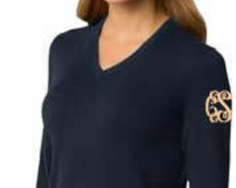 Monogrammed Ladies Classic V Neck Sweater