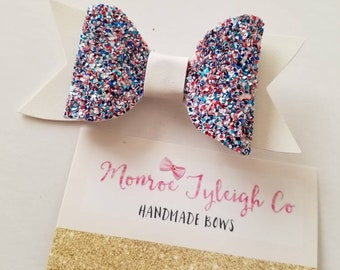 USA sparkle red white and beauty bow