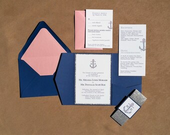 Nautical Pocket Folder Wedding Invitations