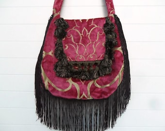 Bohemian Bag with Pink Cut Velvet and Plum Aubergine Tassels and Trim