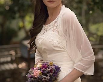 Ivory Bridal Shrug, Non Lace Bridal Bolero, Versatile Wrap Top- Shawl, Shrug, Twisted Shawl And Loop Scarf. Ivory Sheer Wedding Bolero Shawl