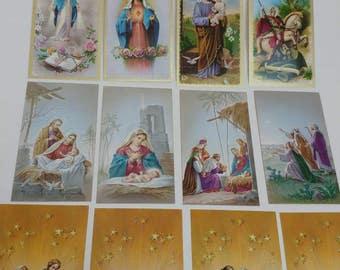 12 vintage Holy Cards prayer cards