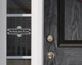 No Solicitation Sign No Soliciting Door Sign Vinyl Lettering Door Decal Doorbell Sign Vinyl Decal Sticker