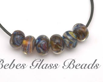 Lampwork Boro Beads Set of 6 Handmade Boro Borosilicate  Bebes Glass Beads (Santa Fe Tan)